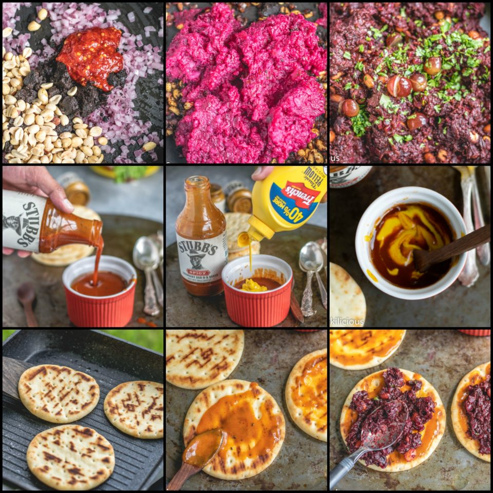 9 image collage showing the steps to make Grilled Dabeli (Made With Potatoes & Beets) Pita Bread Pizza