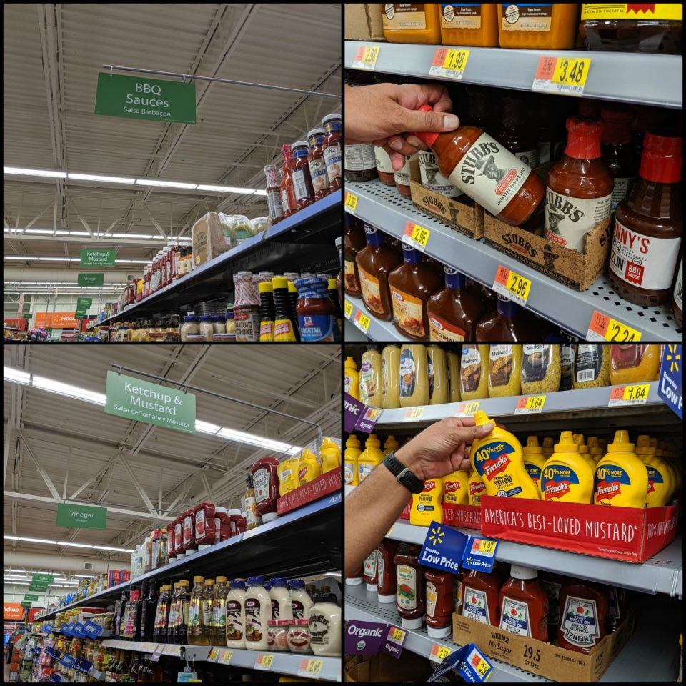 4 image collage showing images of Walmart from where you can buy the required ingredients to make Grilled Dabeli (Made With Potatoes & Beets) Pita Bread Pizza