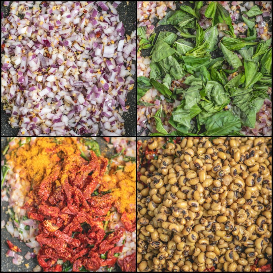 4 image collage showing the process to make Black Eyed Peas & Sun Dried Tomatoes Skillet Fry