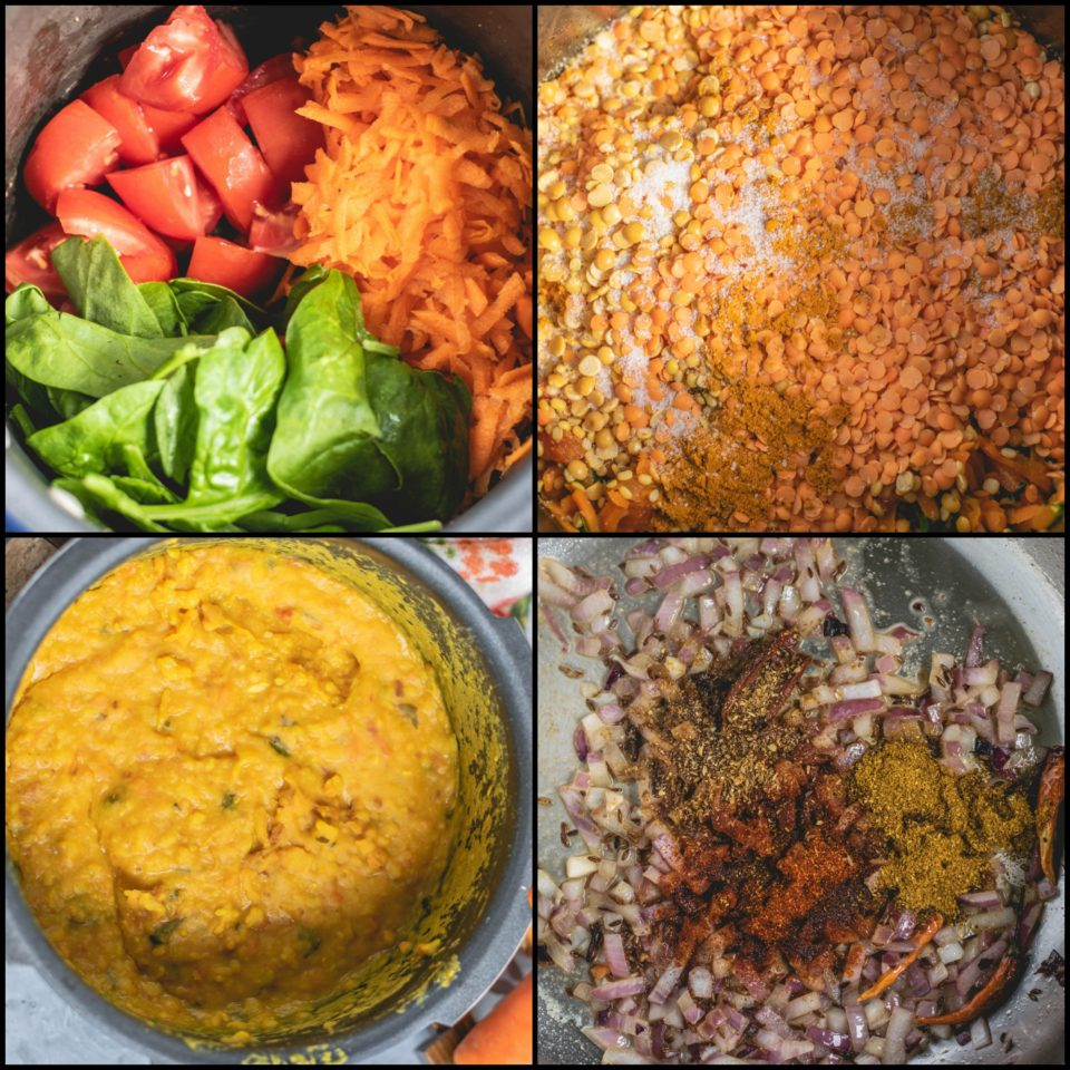 Roasted Lentils & Carrot Dal With Spinach - Pressure Cooker Recipe!Soups & Lentils