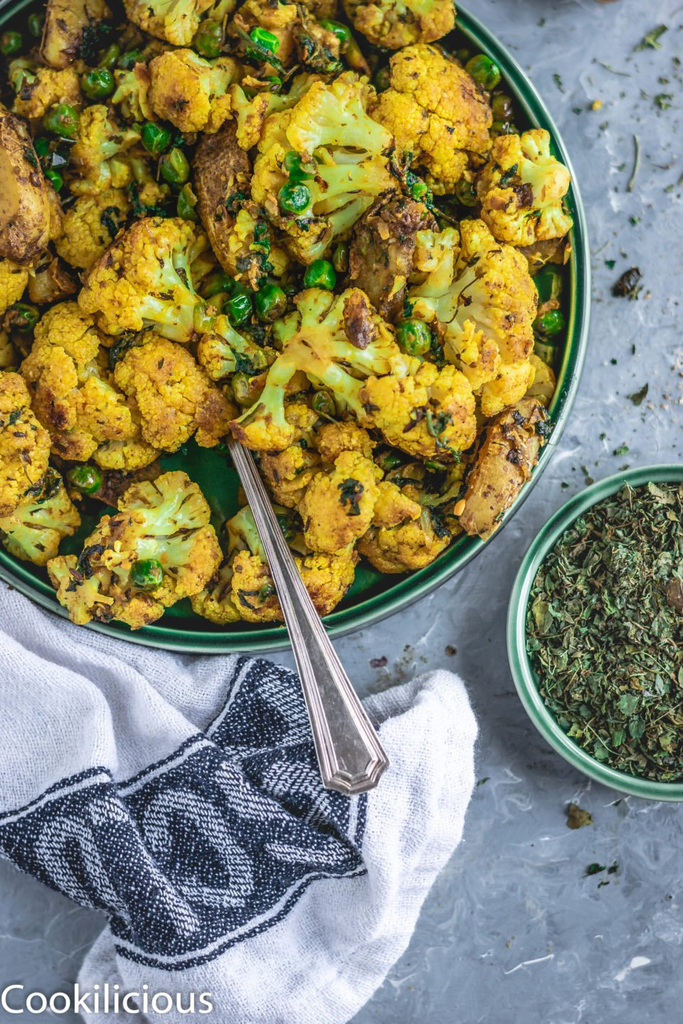 image of a quarter of a plate filled with Indian cauliflower curry called Cauliflower fry