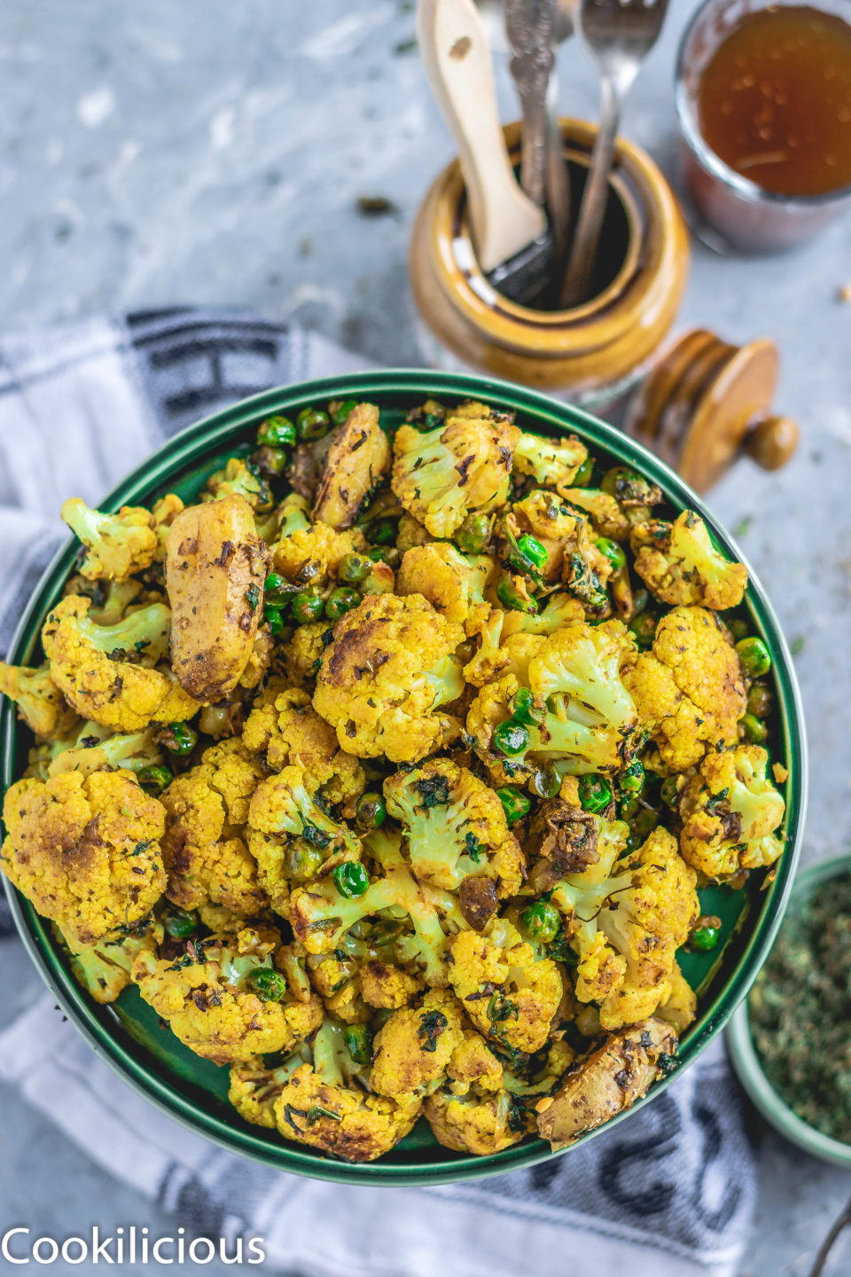 top angle shot of a plate filled with Gobi Methi or cauliflower fry