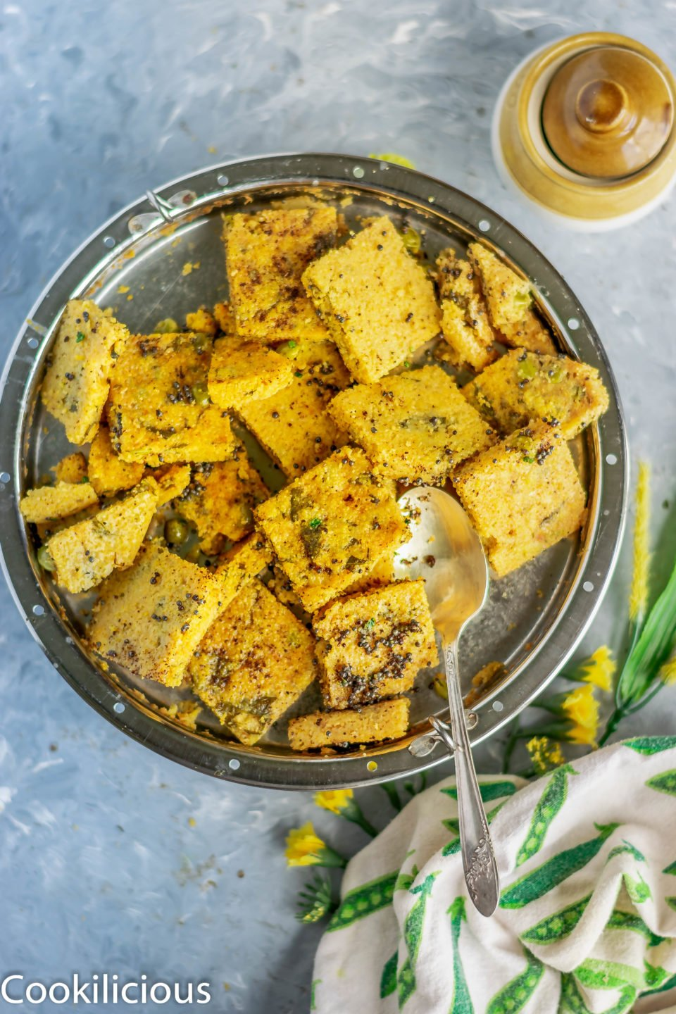 a platter full of Corn Dhokla