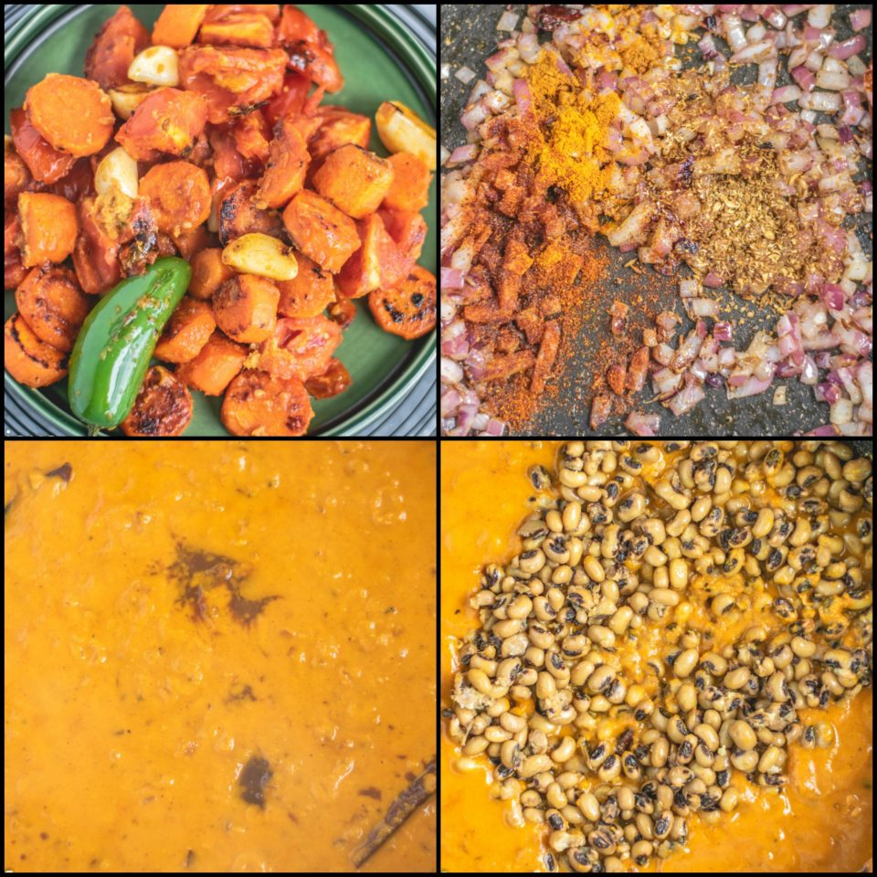 4 image collage showing the steps to make Lobia Ki Khatti Meethi Dal