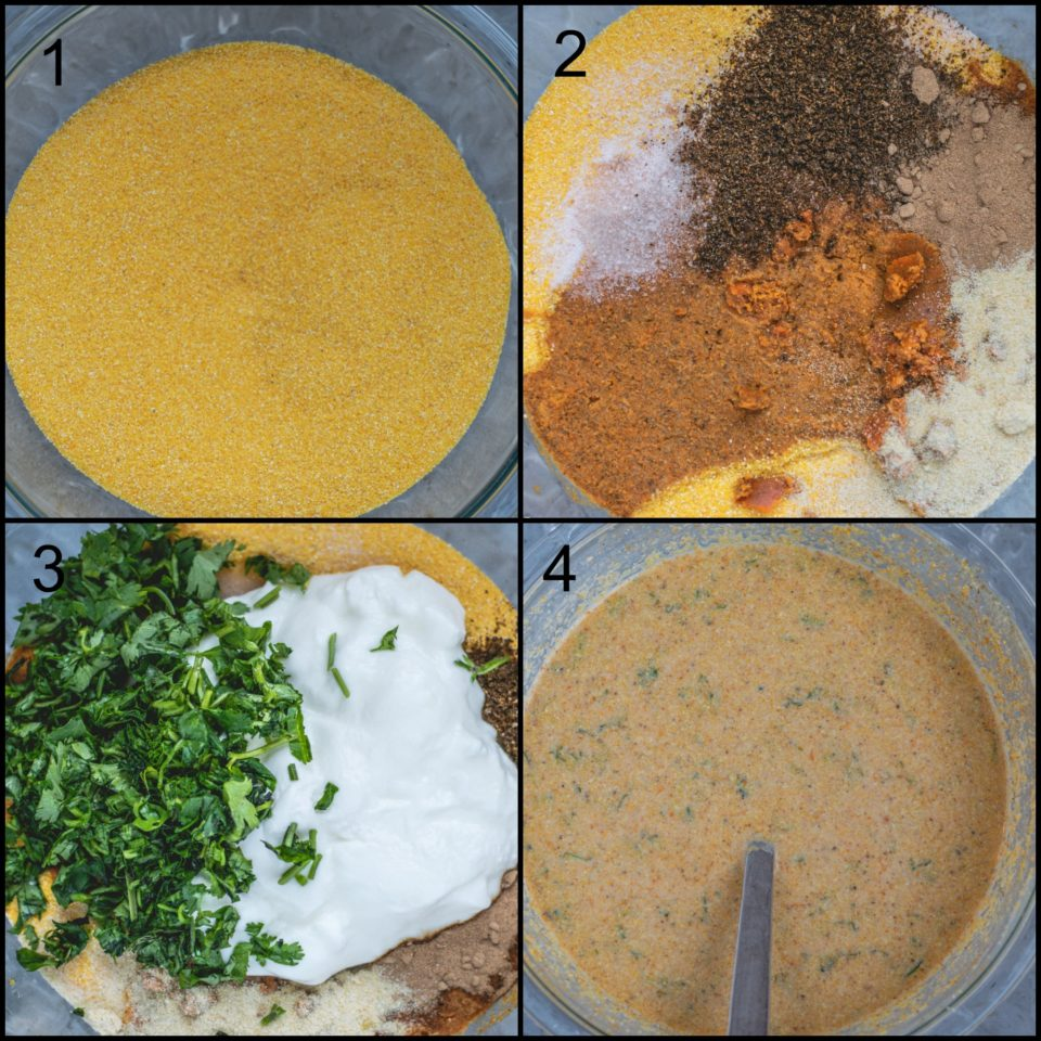 4 image collage showing the steps to make Corn Dhokla