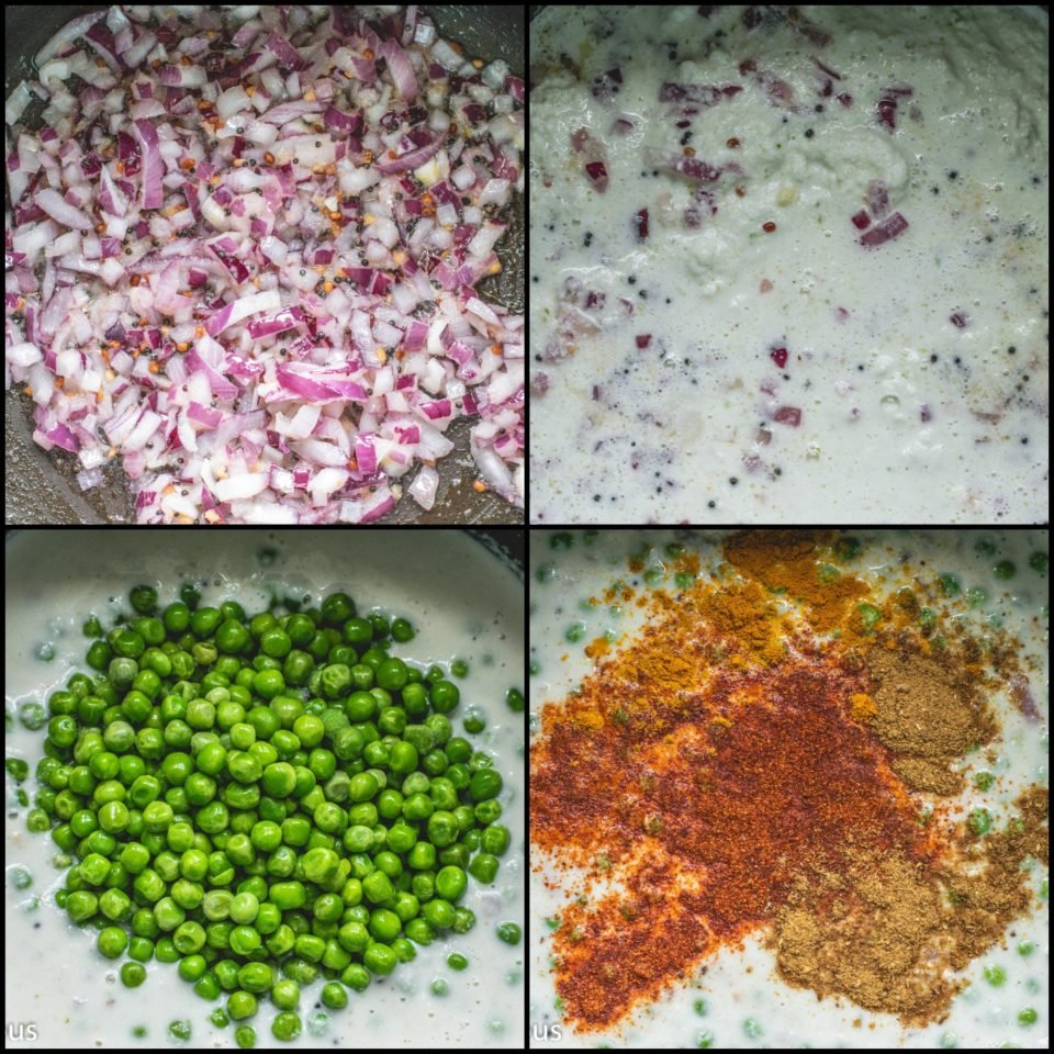 4 image collage showing the steps to make Kovalam Mutter