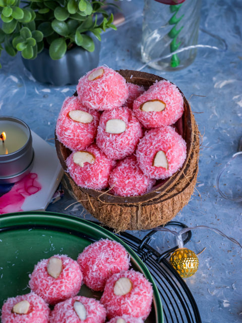 Instant Rose & Coconut Ladoo in a coconut shell bowl
