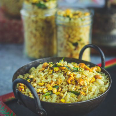 Rice Krispie Chivda in a small kadai