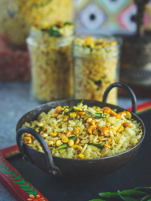 Rice Krispie Chivda in a small kadai