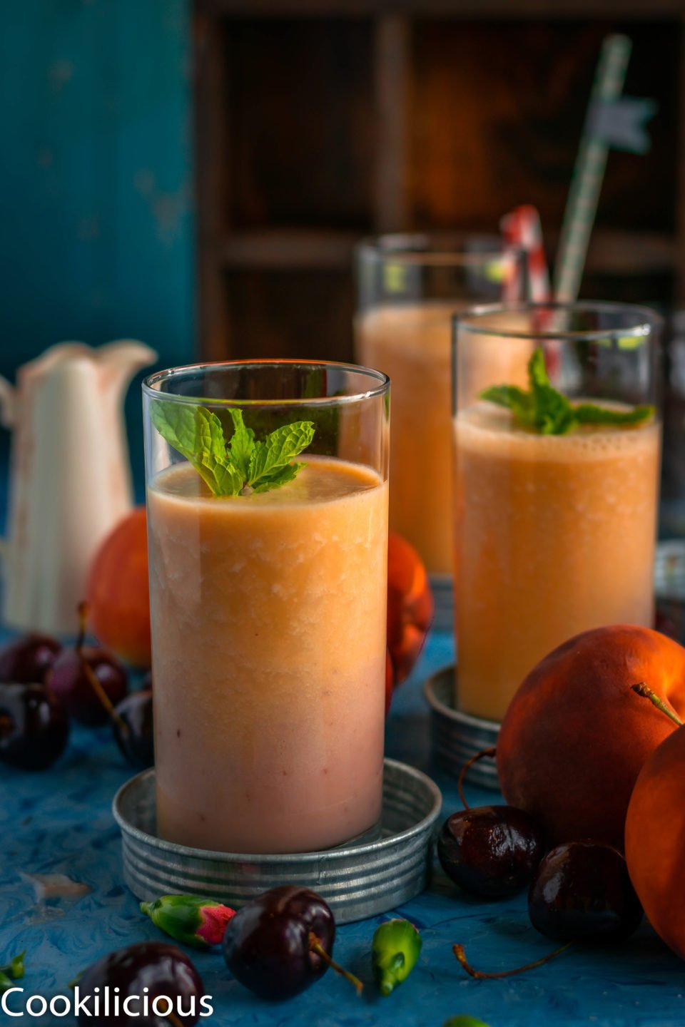 Three glasses of Peach and Raspberry Smoothie