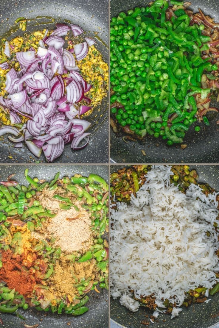 4 image collage showing the steps to make Bell Pepper Fried Rice