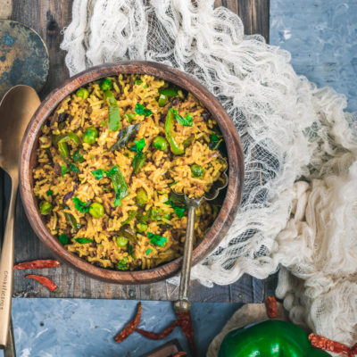 Simple, Easy & Flavorful Bell Pepper Fried Rice under 15 Minutes!