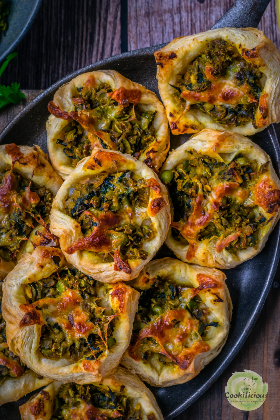 close up shot of Spicy Green Peas & Spinach Pastry Puffs