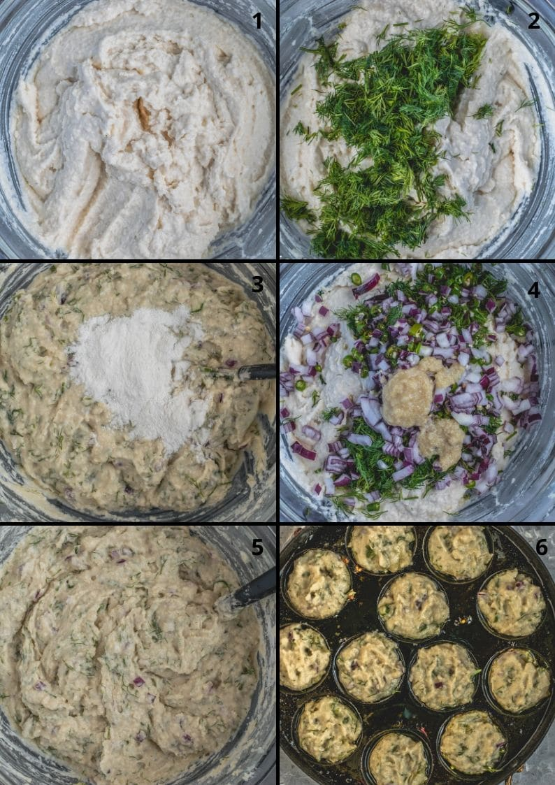 6 image collage showing the steps to make Dill Flavored Lentil Fritters