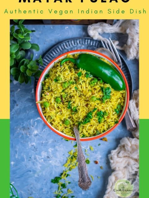 Green Peas Pulao in a bowl with a spoon in it with text at the top
