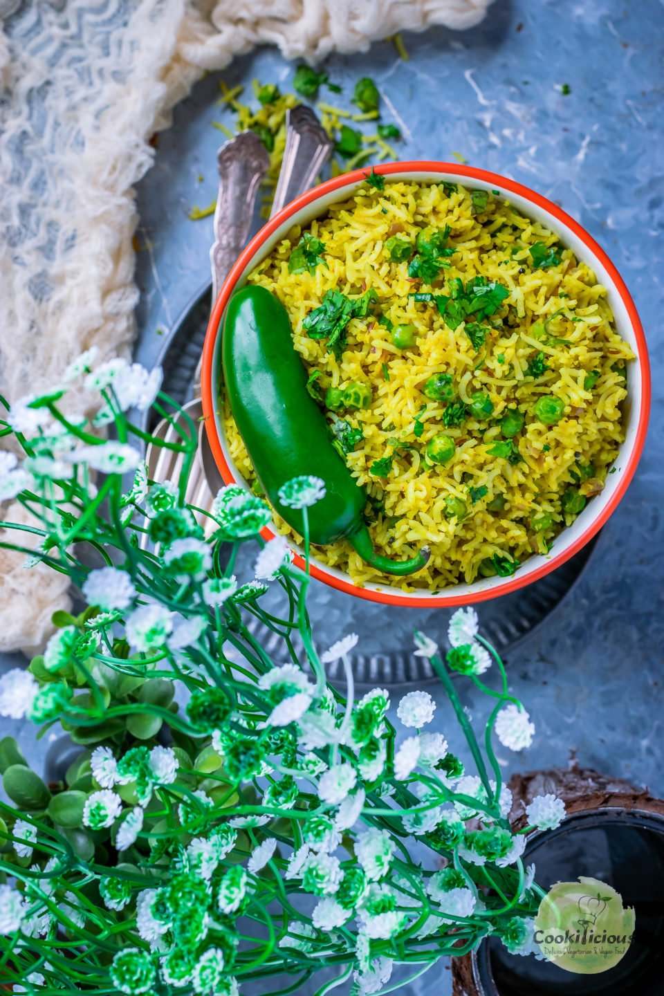 top angle shot of Green Peas Pulao