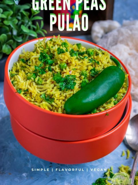 3 bowls one on top of the other and the top one filled with Green Peas Pulao with text at the top