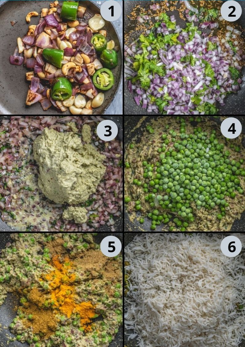 6 image collage showing the steps to make Green Peas Pulao