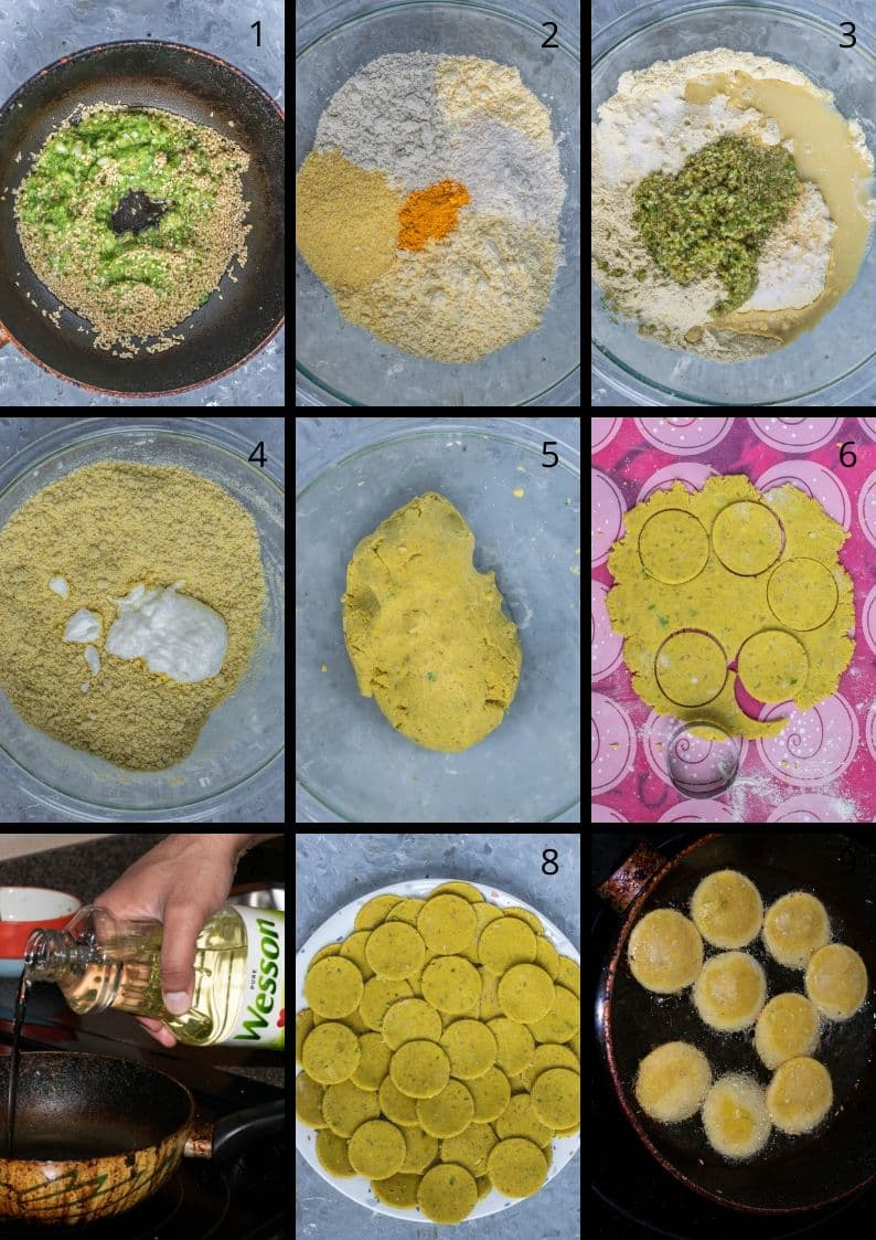 9 image collage showing the steps to make Mixed Flour Crackers