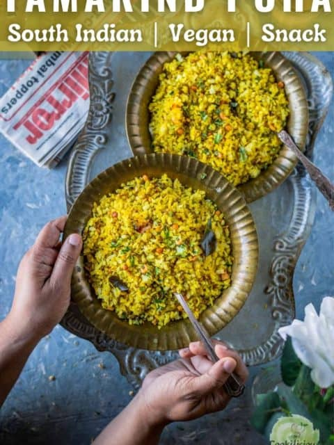 a set of hands holding a plate of tamarind poha and text at the top