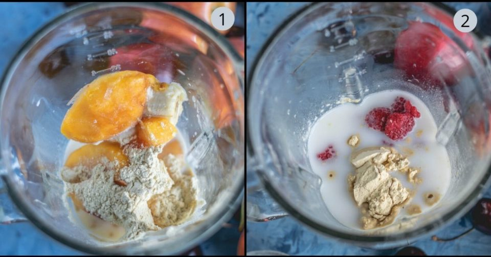 2 image collage showing how to make Peach & Raspberry Creamsicle Smoothie