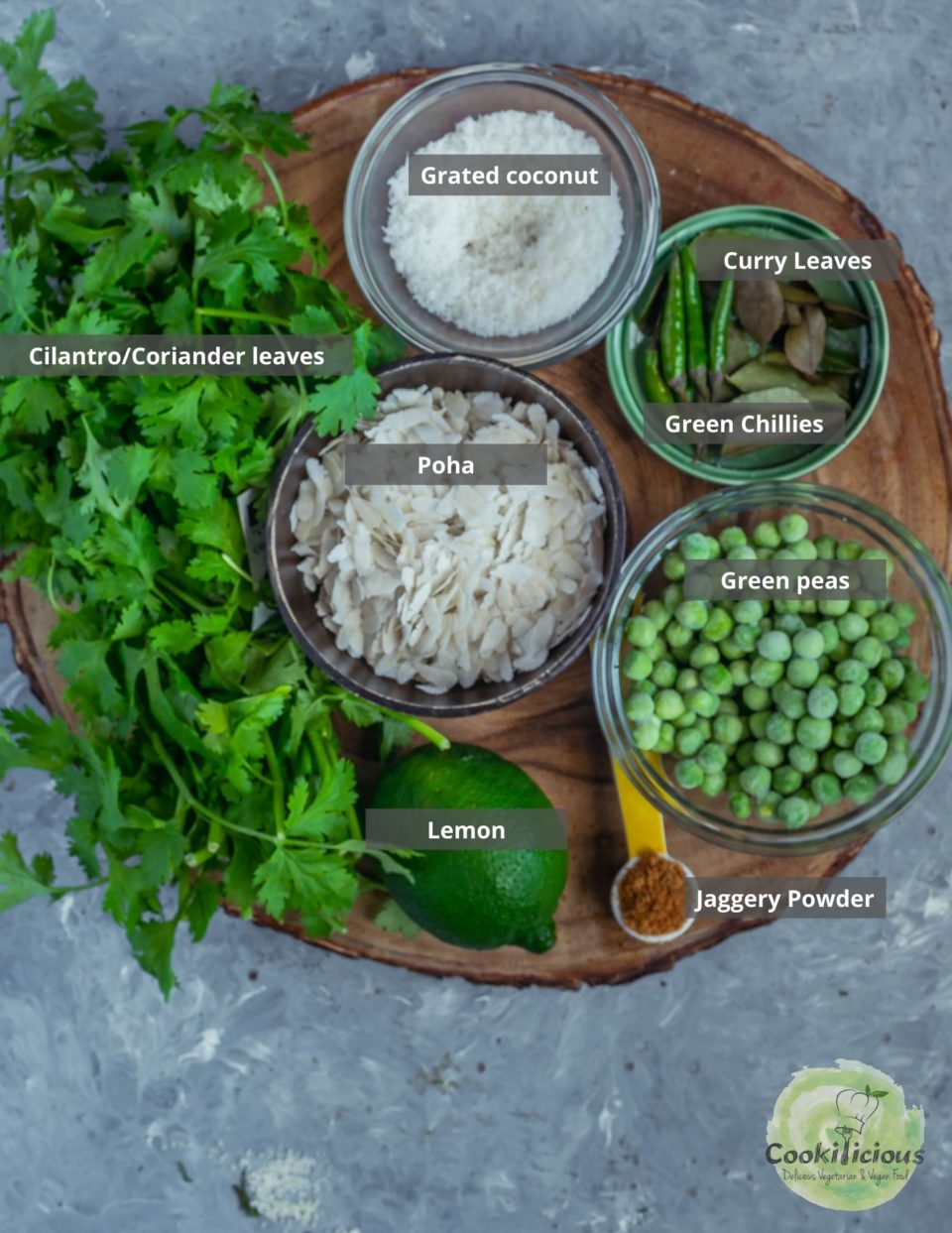 all the ingredients needed to make plant-based snack cilantro poha (rice flakes) recipe are placed in a platter