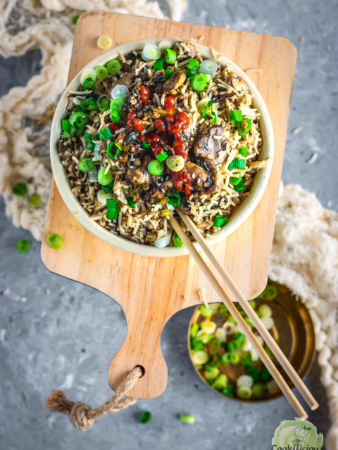 Japanese fried rice in a bowl with chopsticks