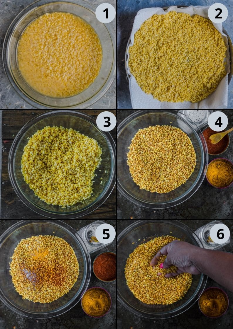 6 image collage showing the steps to make Crunchy Moong Dal