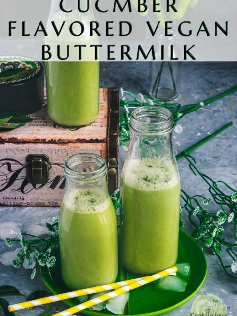 3 glass bottles filled with Cucumber Flavored Vegan Buttermilk & text at the top