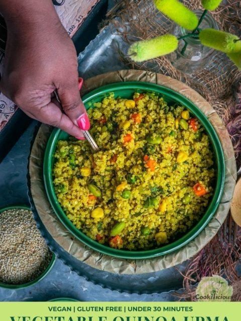 a hand holding a spoon digging into a bowl of Vegetable Quinoa Upma and text at the bottom
