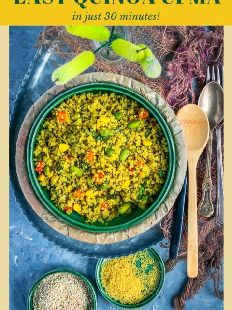 Vegetable Quinoa Upma filled in a round platter with spoons next to it and text at the top and bottom