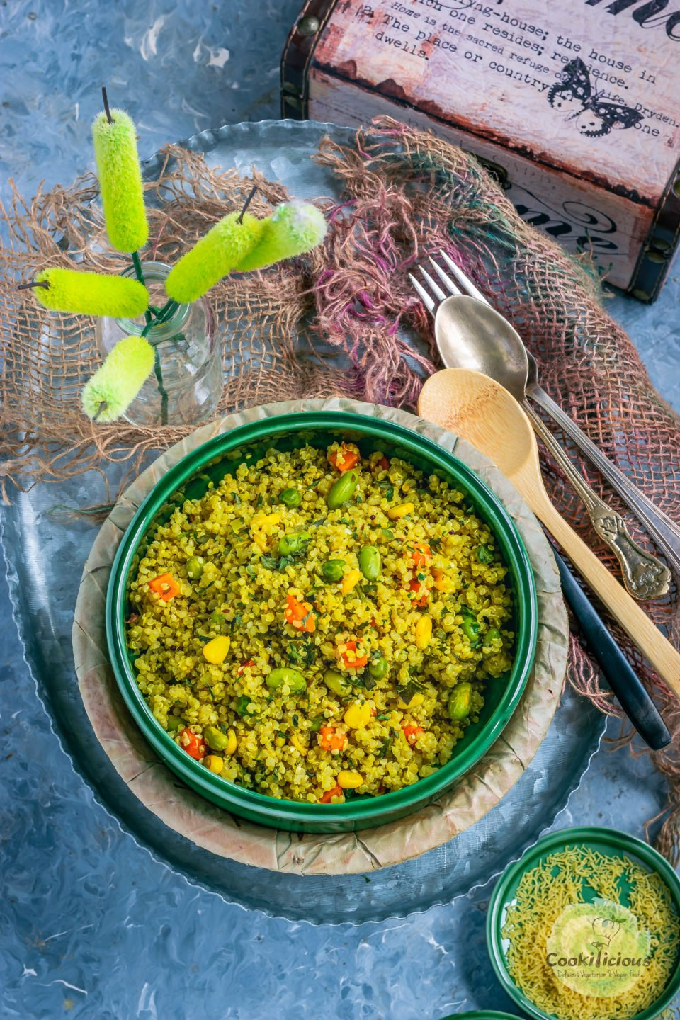 a round bowl filled with Vegetable Quinoa Upma
