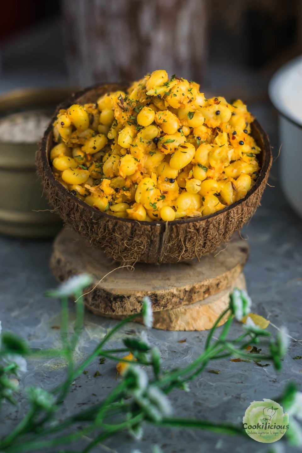 navy beans sundal in an empty coconut shell