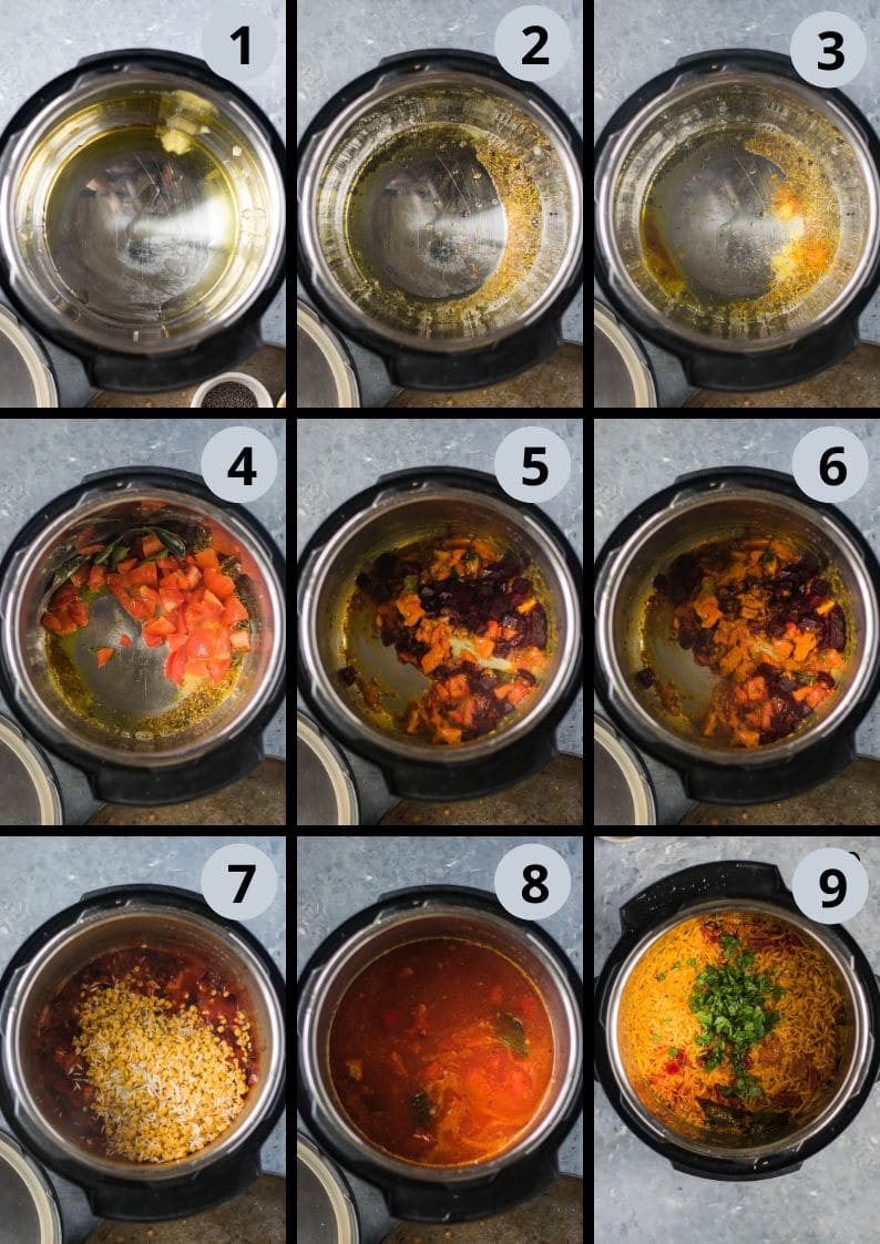 9 image collage showing how to make Instant Pot Beetroot Rasam Rice