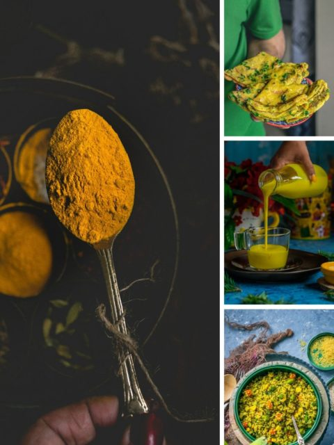 collage showing what recipes can be made with turmeric powder