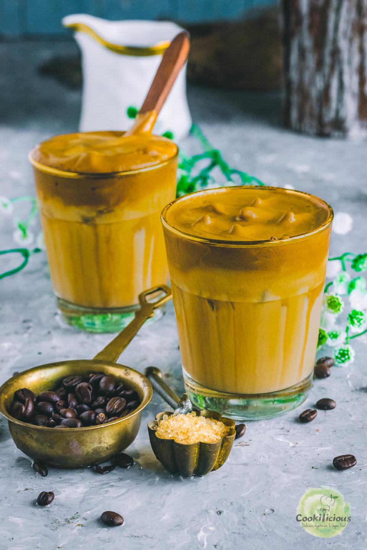 Dalgona coffee served in 2 glasses