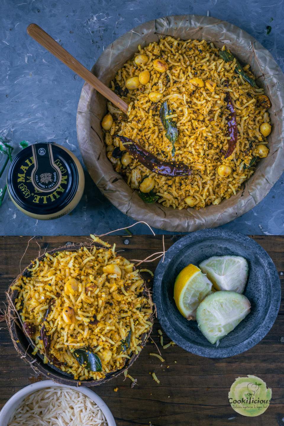 2 bowls of Coconut Mustard Rice with a small bowl with lemon wedges placed on a platter