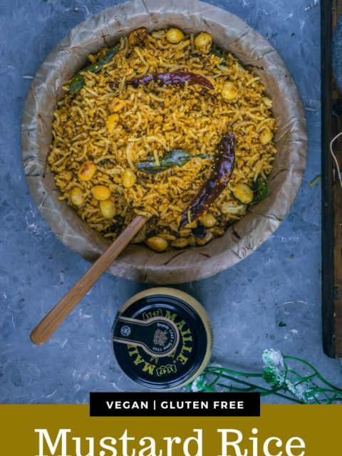 Coconut Mustard Rice with a jar of Maille mustard on the side with text at the bottom