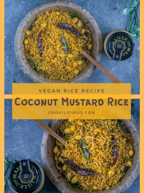 2 image collage of Coconut Mustard rice with text in the middle
