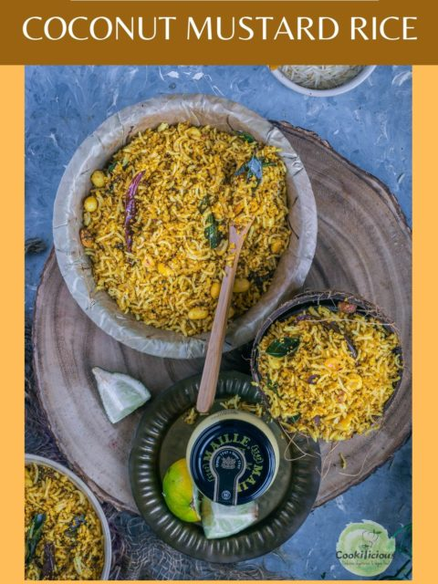 one big and one small bowl filled with Coconut Mustard Rice and text at the top and bottom