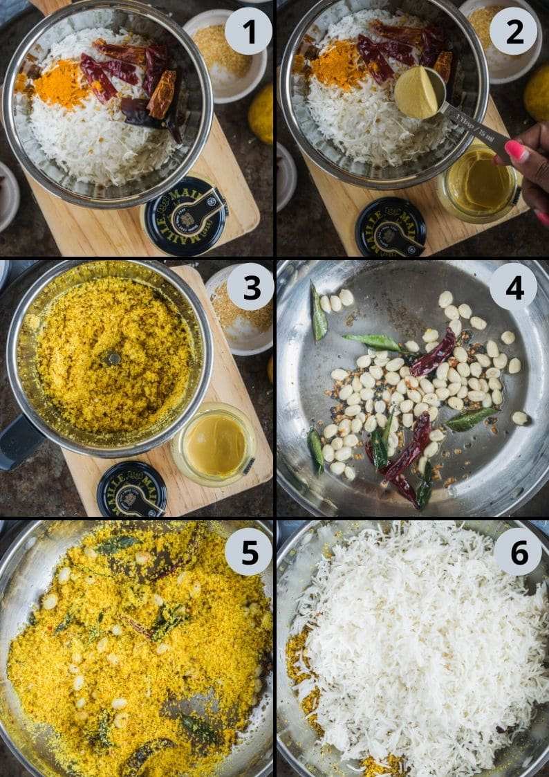 6 image collage showing the steps to make Coconut Mustard Rice