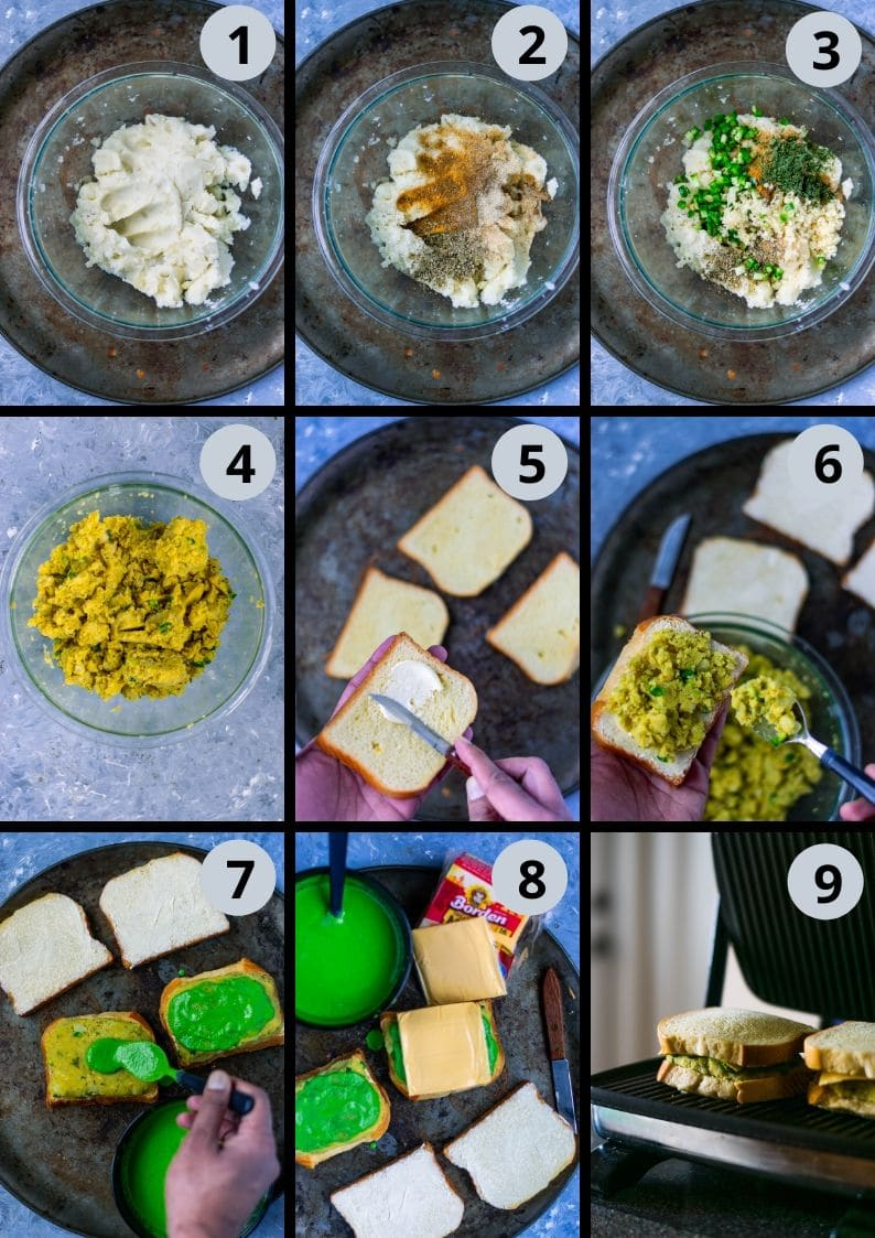 9 image collage showing the steps to make Mashed Potato Cheese Sandwich