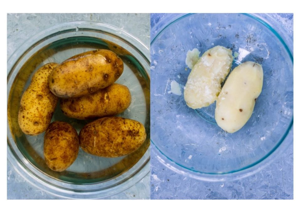 2 image collage showing how to boil potatoes