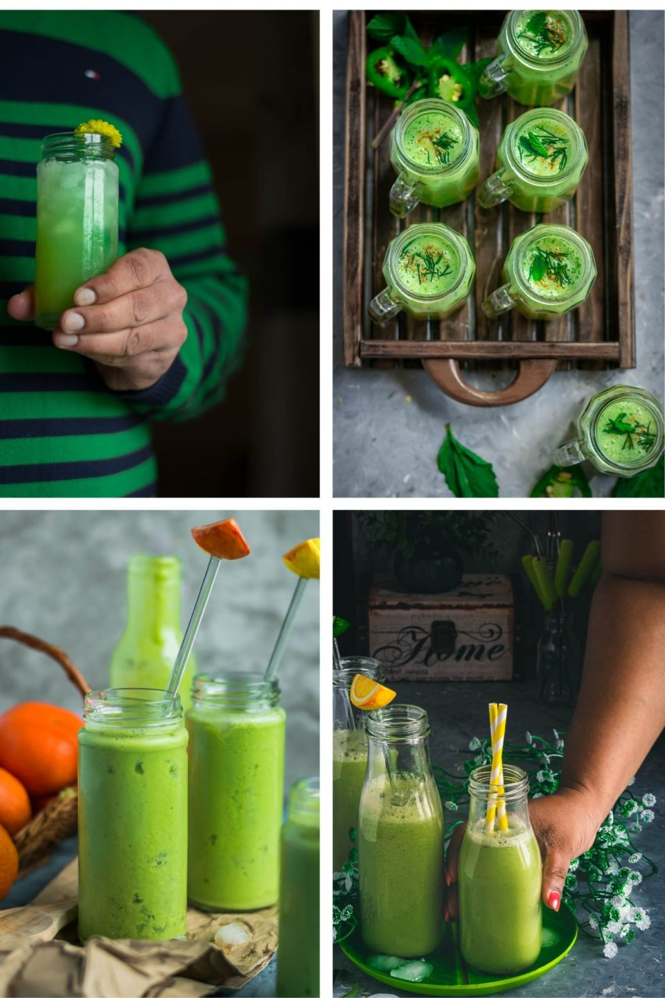 4 image collage of Green Drinks For St. Patty's Day