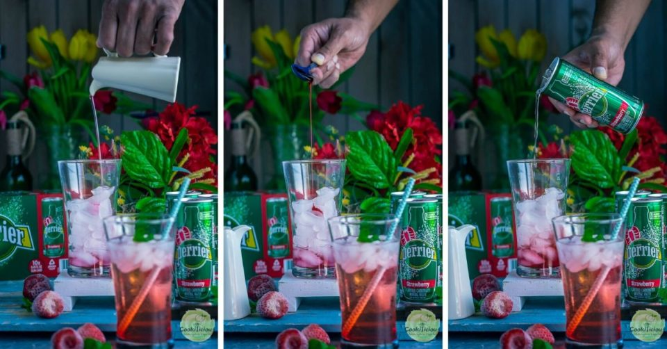 3 image collage showing the steps to make Strawberry Hibiscus Rose Punch