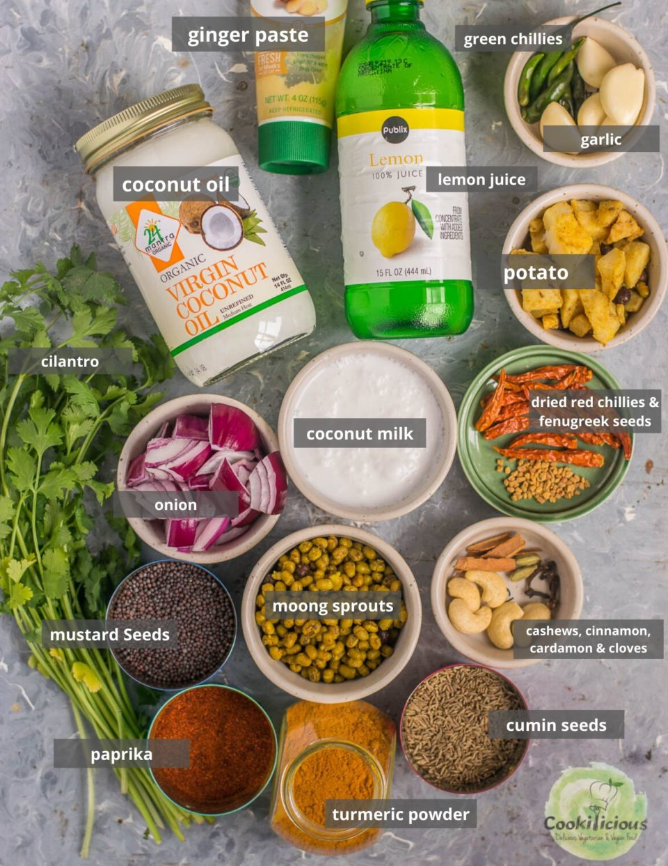 all the ingredients needed to make this Indian vegetarian curry called Moong Sprouts Coconut Vegan Curry displayed on a tray
