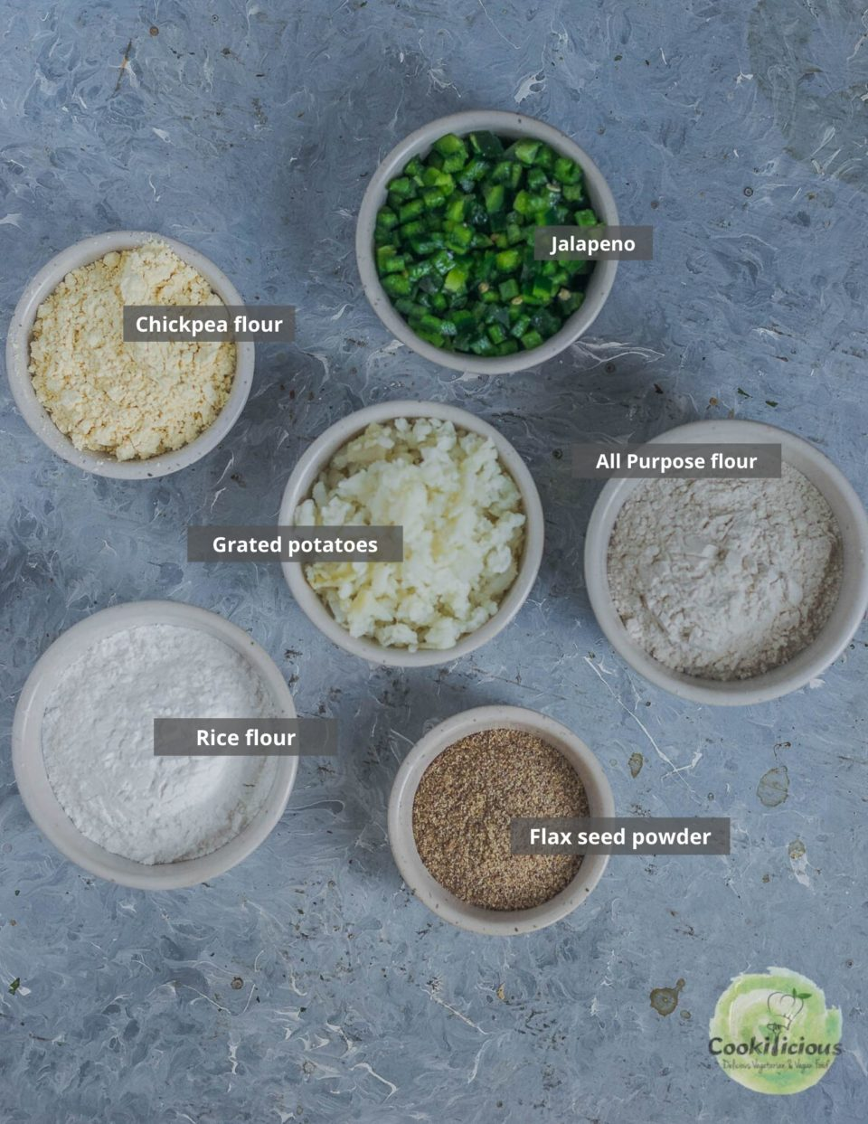 all the ingredients needed to make Instant Potato Dosa (a South Indian breakfast) placed in a tray