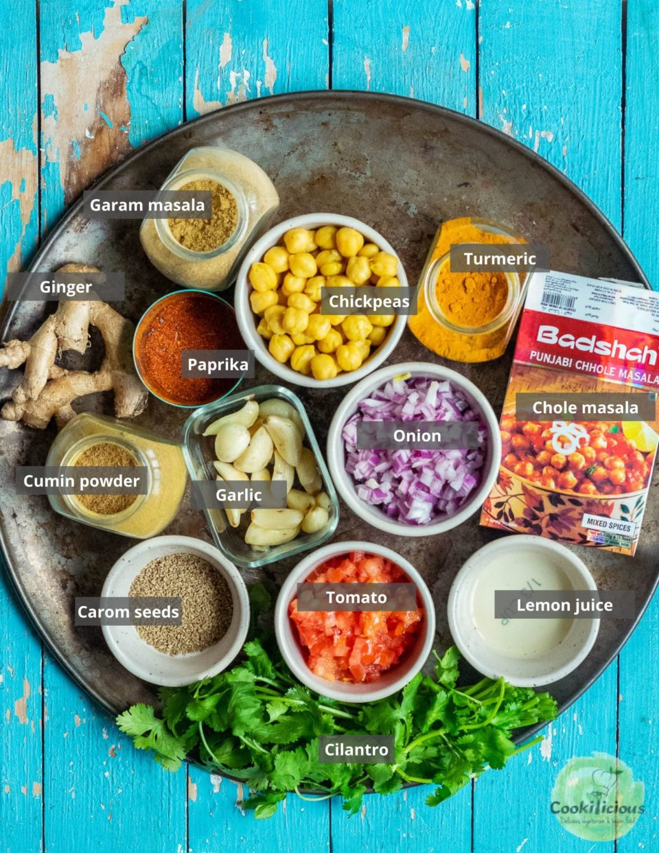 all the ingredients needed to make Tawa Chole | Chickpea Stir Fry arranged on a tray