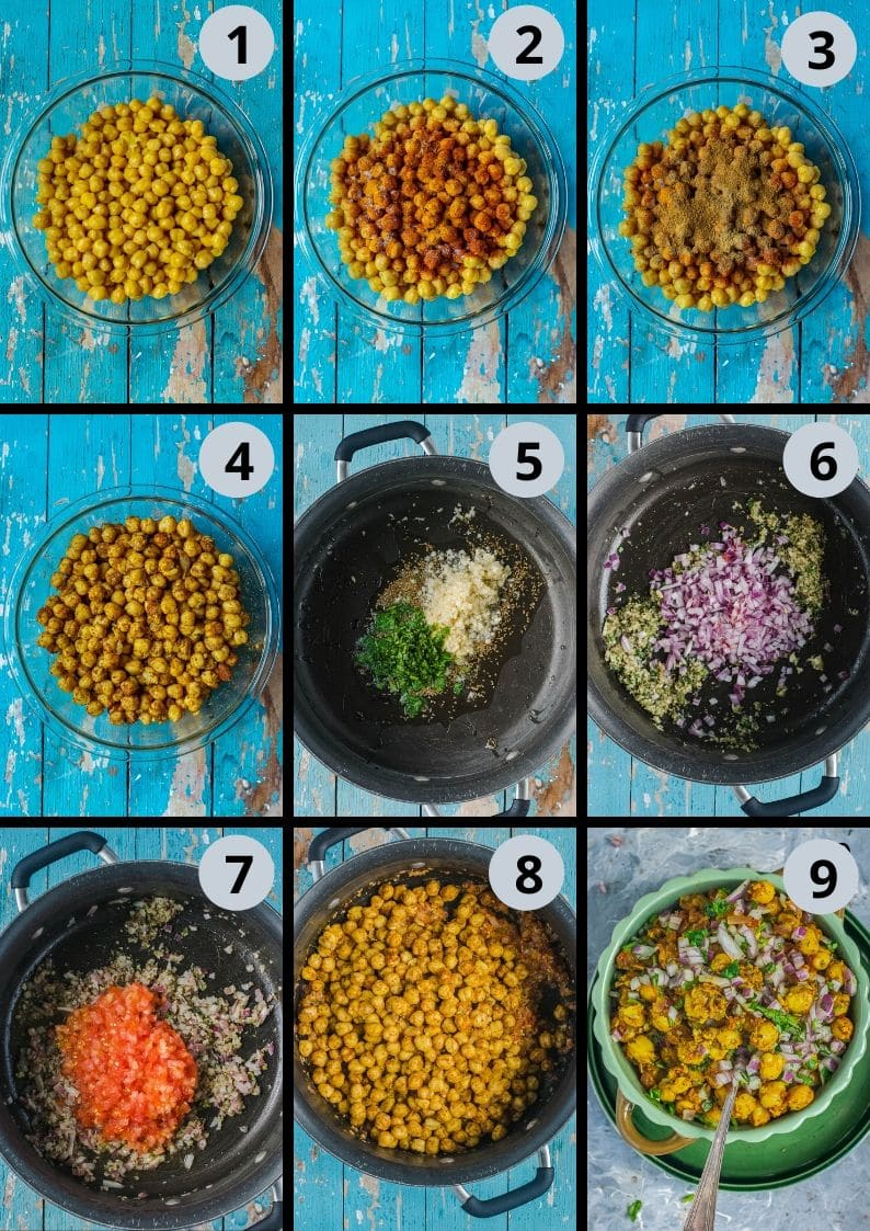 9 image collage showing the steps to make Tawa Chole | Chickpea Stir Fry