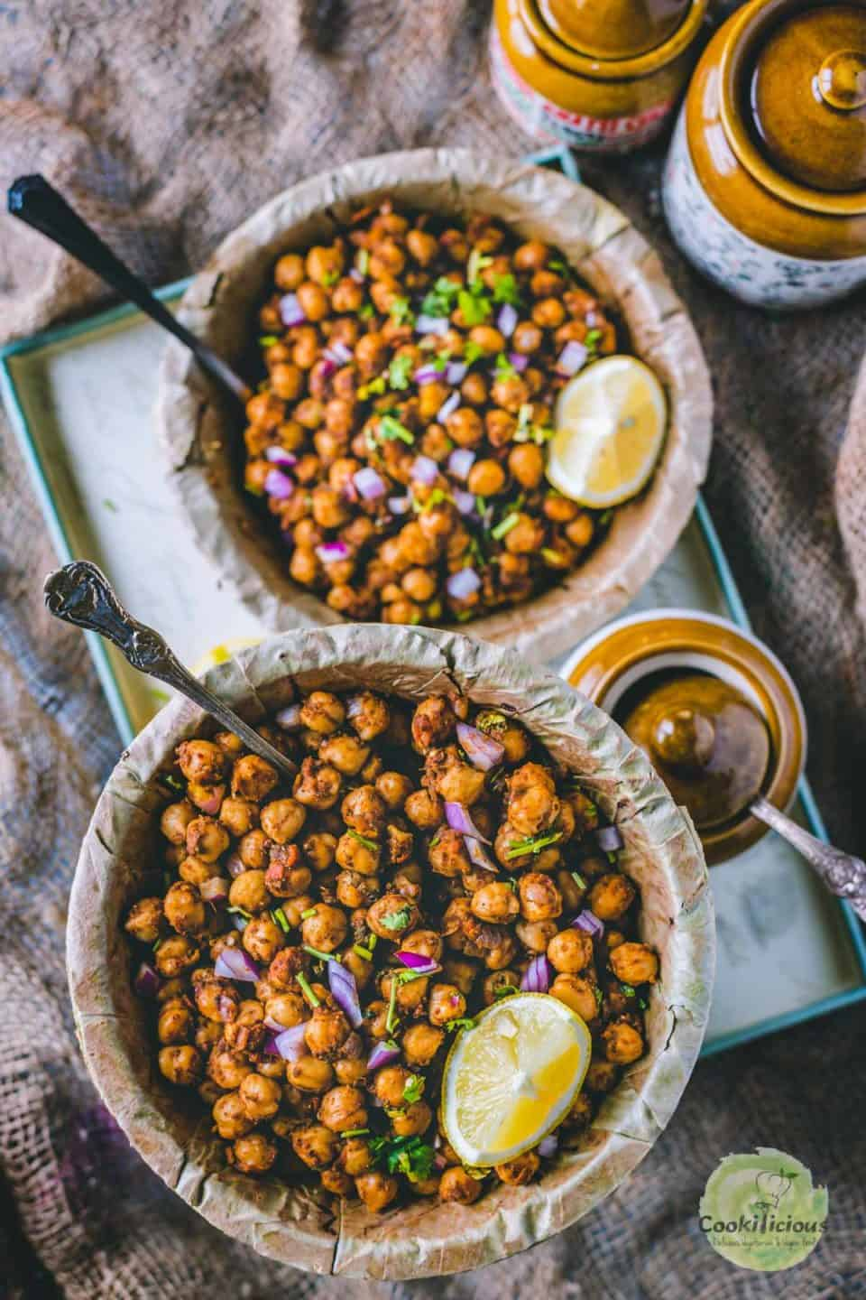 close up of one bowl of tawa chole